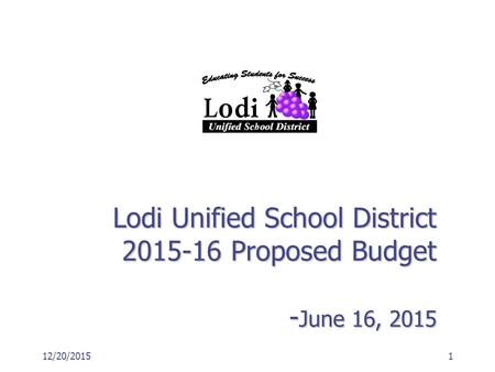 Lodi Unified School District 2015-16 Proposed Budget - June 16, 2015 12/20/20151.