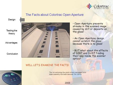 Design Testing the theory Advantages Conclusion 2003 The Facts about Colortrac Open Aperture Open Aperture prevents streaks in the scanned image caused.