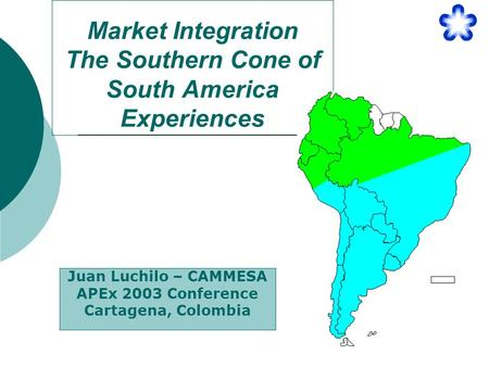 Market Integration The Southern Cone of South America Experiences Juan Luchilo – CAMMESA APEx 2003 Conference Cartagena, Colombia.