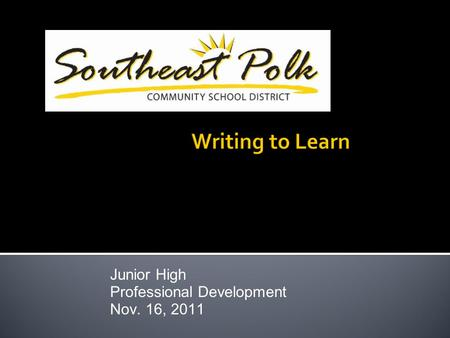 Junior High Professional Development Nov. 16, 2011.