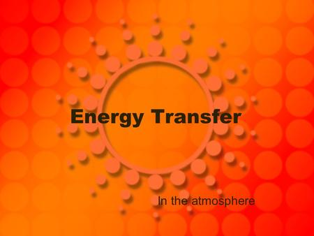 Energy Transfer In the atmosphere.