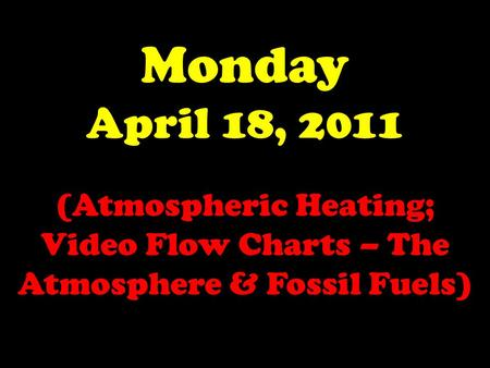Monday April 18, 2011 (Atmospheric Heating; Video Flow Charts – The Atmosphere & Fossil Fuels)