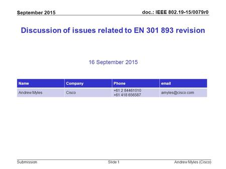 Doc.: IEEE 802.19-15/0079r0 Submission September 2015 Andrew Myles (Cisco)Slide 1 Discussion of issues related to EN 301 893 revision 16 September 2015.