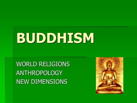 BUDDHISM WORLD RELIGIONS ANTHROPOLOGY NEW DIMENSIONS.