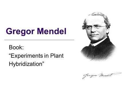 "Gregor Mendel Book: ""Experiments in Plant Hybridization"""