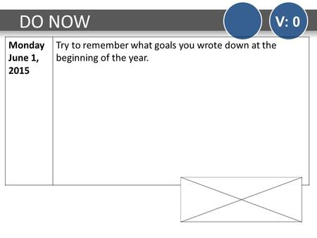 DO NOW V: 0 Monday June 1, 2015 Try to remember what goals you wrote down at the beginning of the year.