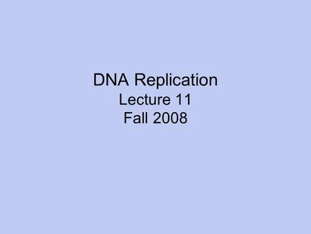 DNA Replication Lecture 11 Fall 2008. Read pgs. 305-312.