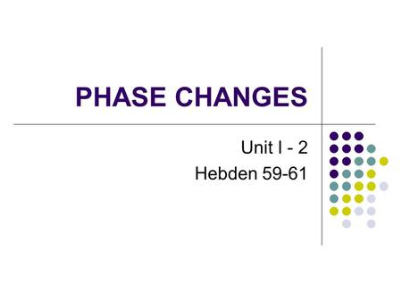 PHASE CHANGES Unit I - 2 Hebden 59-61. Chemical and Physical Characteristics of Compounds Property is a characteristic of a material that can be determined.