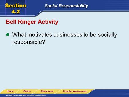 Bell Ringer Activity What motivates businesses to be socially responsible?