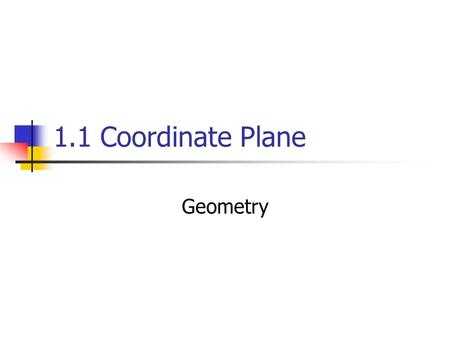 1.1 Coordinate Plane Geometry. Objectives/Assignment: Plot points on the Coordinate Plane.