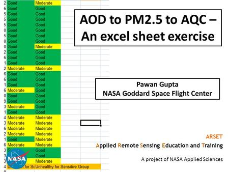 1 AOD to PM2.5 to AQC – An excel sheet exercise ARSET Applied Remote Sensing Education and Training A project of NASA Applied Sciences Pawan Gupta NASA.