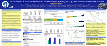 Cmab might have therapeutic benefit in Japanese patients with KRAS p.G13D mutant colorectal cancer. Limitations of this study are its retrospective design.