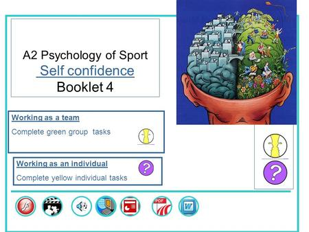 A2 Psychology of Sport Self confidence Booklet 4 Skills Working as a team Complete green group tasks Working as an individual Complete yellow individual.
