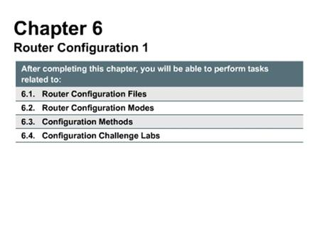 Will learn to use router modes and configuration methods to update a router's configuration file with current and prior versions of Cisco Internetwork.