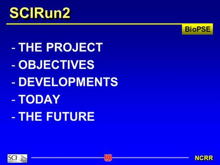 BioPSE NCRR SCIRun2 -THE PROJECT -OBJECTIVES -DEVELOPMENTS -TODAY -THE FUTURE.