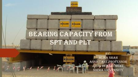 Bearing Capacity from SPT and PLT By: Alka Shah Assistant professor Civil Department Nirma University.