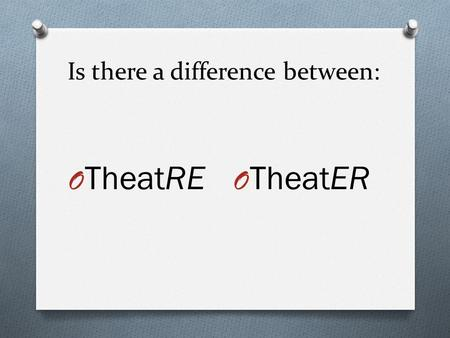 Is there a difference between: O TheatRE O TheatER.