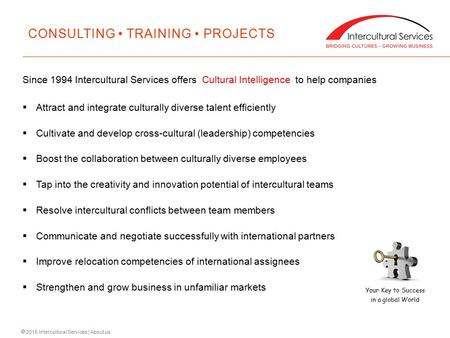  2015 Intercultural Services | About us Since 1994 Intercultural Services offers Cultural Intelligence to help companies  Attract and integrate culturally.