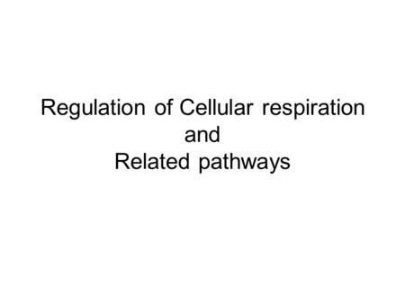 Regulation of Cellular respiration and Related pathways.
