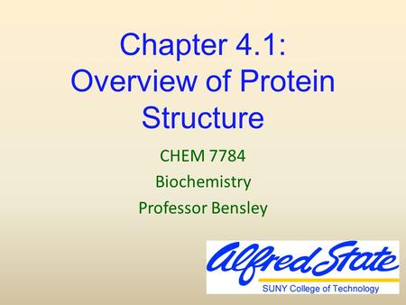 Chapter 4.1: Overview of Protein Structure CHEM 7784 Biochemistry Professor Bensley.