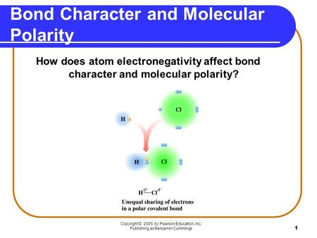 Bond Character and Molecular Polarity