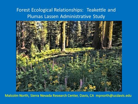 Forest Ecological Relationships: Teakettle and Plumas Lassen Administrative Study Malcolm North, Sierra Nevada Research Center, Davis, CA