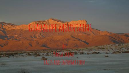 Guadalupe mountains By Paola Jaime Facts and Information.