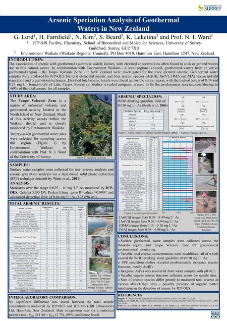 G. Lord 1, H. Farnfield 1, N. Kim 2, S. Beard 2, K. Luketina 2 and Prof. N. I. Ward 1 Arsenic Speciation Analysis of Geothermal Waters in New Zealand 1.