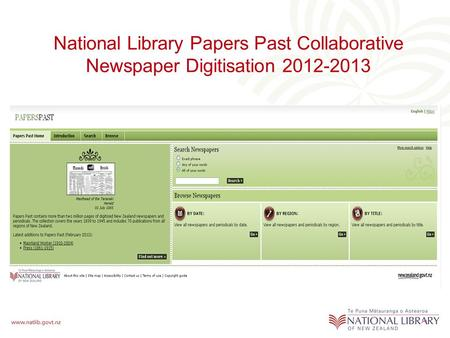 National Library Papers Past Collaborative Newspaper Digitisation 2012-2013.