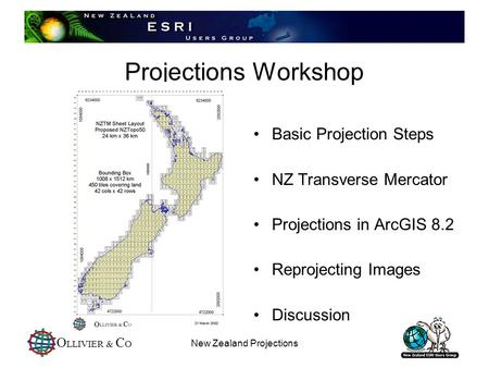 O LLIVIER & C O New Zealand Projections Projections Workshop Basic Projection Steps NZ Transverse Mercator Projections in ArcGIS 8.2 Reprojecting Images.