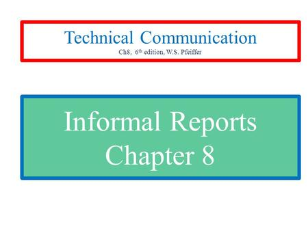 Informal Reports Chapter 8 Technical Communication Ch8, 6 th edition, W.S. Pfeiffer.