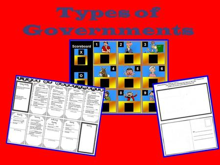 Types of Governments. Teacher Instructions Copy Lecture Notes template/Postcard template (back-to-back) 1 per student. Review power point and follow directions.