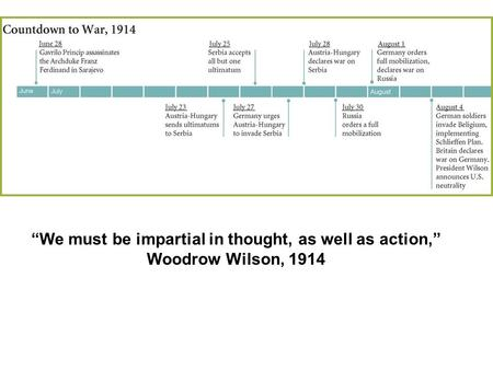 """We must be impartial in thought, as well as action,"" Woodrow Wilson, 1914."