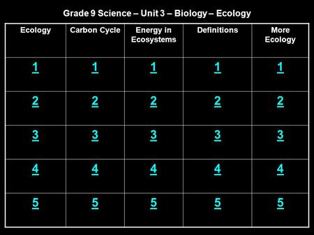 Grade 9 Science – Unit 3 – Biology – Ecology EcologyCarbon CycleEnergy in Ecosystems DefinitionsMore Ecology 11111 22222 33333 44444 55555.
