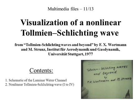 "Multimedia files – 11/13 Visualization of a nonlinear Tollmien–Schlichting wave from ""Tollmien-Schlichting waves and beyond"" by F. X. Wortmann and M. Strunz,"