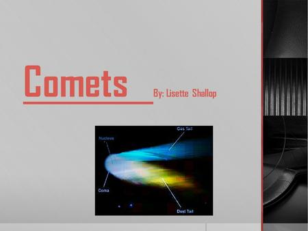 Comets By: Lisette Shallop Facts:  A comet is a very small solar system body  Comets are usually made up of frozen water  When a comet gets closer.