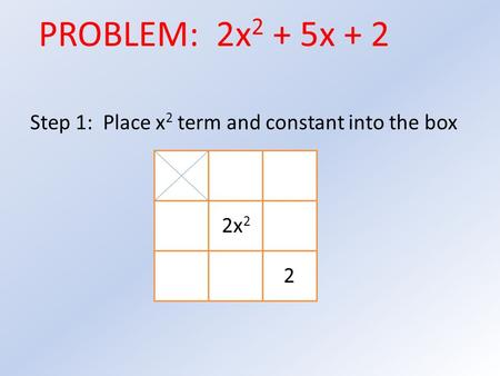 Step 1: Place x 2 term and constant into the box 2x 2 2 PROBLEM: 2x 2 + 5x + 2.