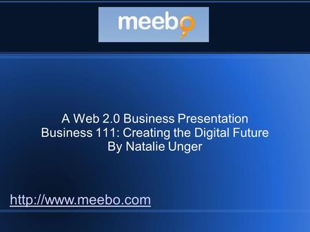 A Web 2.0 Business Presentation Business 111: Creating the Digital Future By Natalie Unger