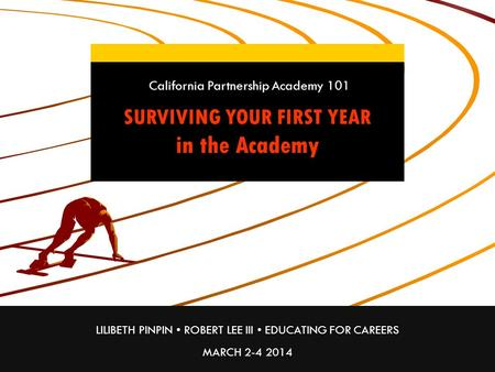 LILIBETH PINPIN ROBERT LEE III EDUCATING FOR CAREERS MARCH 2-4 2014 SURVIVING YOUR FIRST YEAR in the Academy California Partnership Academy 101.