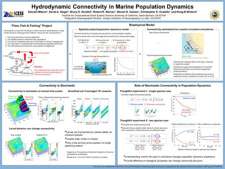 Hydrodynamic Connectivity in Marine Population Dynamics Satoshi Mitarai 1, David A. Siegel 1, Bruce E. Kendall 1, Robert R. Warner 1, Steven D. Gaines.
