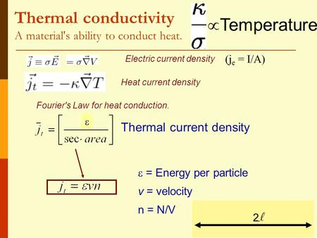 Thermal conductivity A material's ability to conduct heat. Thermal current density  = Energy per particle v = velocity n = N/V Electric current density.