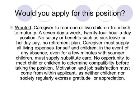 Would you apply for this position?