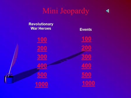 Mini Jeopardy Revolutionary War Heroes Events 100 200 300 400 500 1000 500 1000.