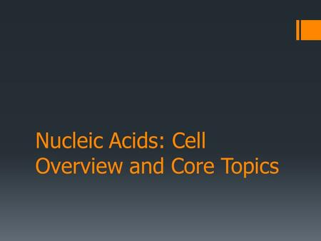 Nucleic Acids: Cell Overview and Core Topics. Outline I.Cellular Overview II.Anatomy of the Nucleic Acids 1.Building blocks 2.Structure (DNA, RNA) III.Looking.