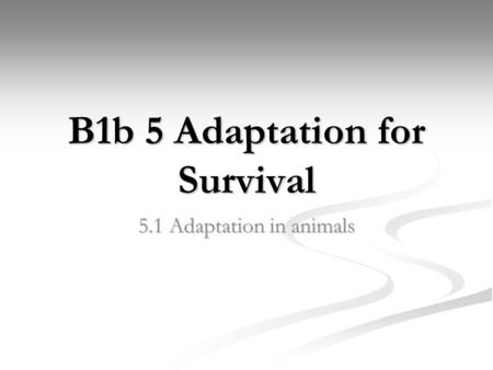 B1b 5 Adaptation for Survival