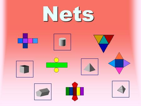 Nets Nets A net is a pattern that you cut out and fold to form a 3 - dimensional figure.