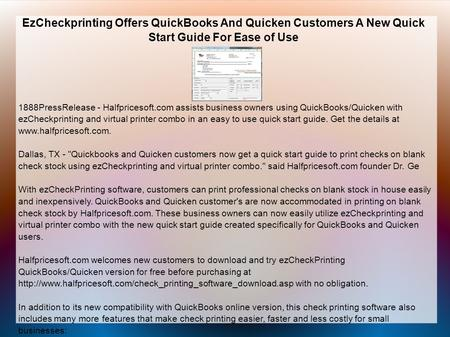 EzCheckprinting Offers QuickBooks And Quicken Customers A New Quick Start Guide For Ease of Use 1888PressRelease - Halfpricesoft.com assists business owners.