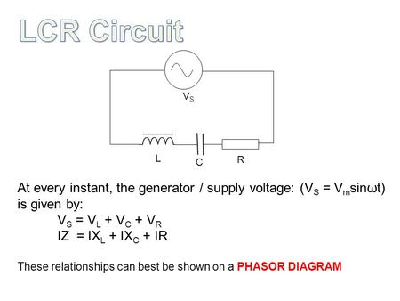 VSVS L C R At every instant, the generator / supply voltage: (V S = V m sinωt) is given by: V S = V L + V C + V R IZ = IX L + IX C + IR These relationships.