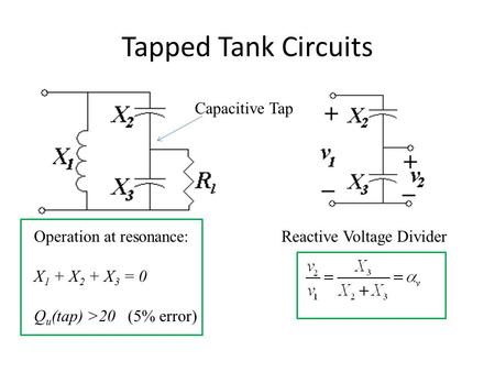 Tapped Tank Circuits Operation at resonance: X 1 + X 2 + X 3 = 0 Q u (tap) >20 (5% error) Capacitive Tap Reactive Voltage Divider.