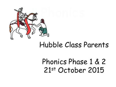 Phonics Hubble Class Parents Phonics Phase 1 & 2 21 st October 2015.